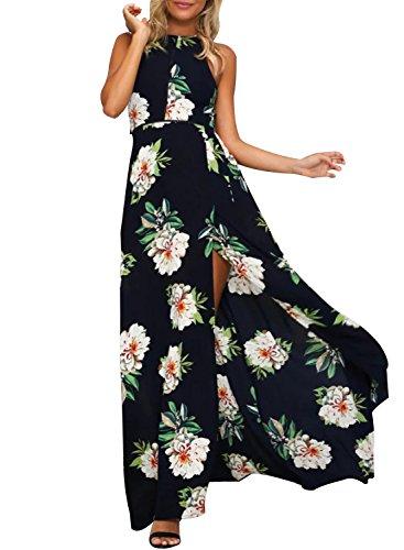 Sanifer Women's Halter Neck Backless Slit Floral Print Summer Dress Sundress (Teen Sexy Dress)