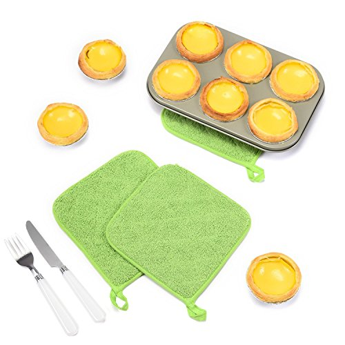 Lifaith 100% Cotton Kitchen Everyday Basic Terry Pot holder Heat Resistant Coaster Potholder for Cooking and Baking Set of 5 Apple Green by Lifaith (Image #4)