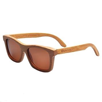 Iwood Handcrafted Moda de bambú carbonizado Marcos Marrón polarizado lente de las gafas de sol de madera