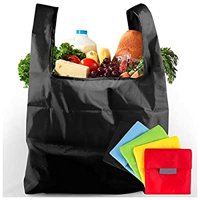 Irixul Reusable Grocery Bags with Storage Pouches - Set of 5 Foldable Shopping Totes - Durable Washable Ripstop Nylon
