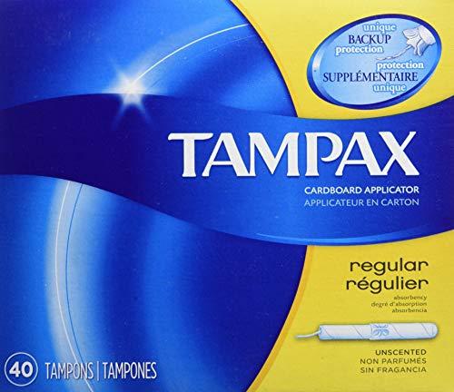 Tampax Cardboard Applicator Tampons, Regular, Unscented, 40 count