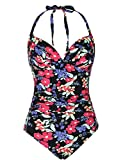 Firpearl Women's One Piece High Waisted Halter V Neck Plunge Ruched Swimsuit Black Red Floral 16