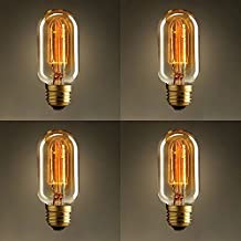 OYGROUP T45 40W Radio Waves Filament Light Bulbs Vintage Antique Light Bulbs Warm Lighting E26 Edison Tubular Style Bulb Clear Glass 110-120v for Home Light Fixtures Decorative Dimmable(4 Pack)