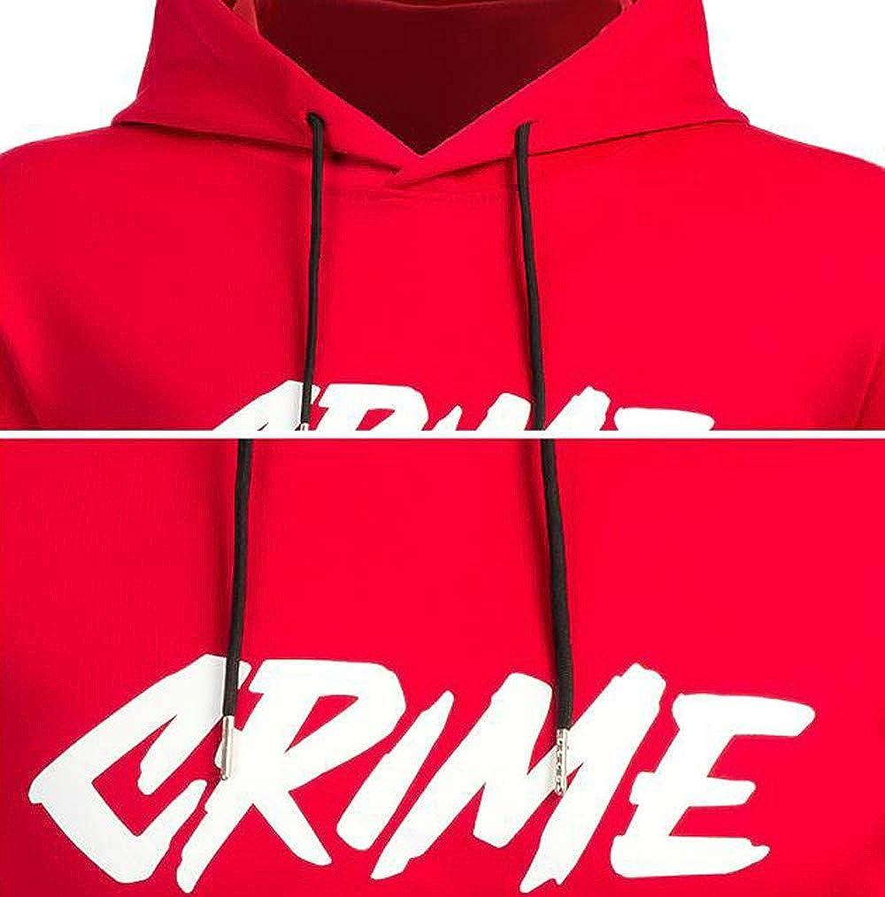 OSYARD Sweat-Shirt Sweat /à Capuchon Homme Hiver Hoodie Hoody Blousons Manches Longue Sport Chemisier /à Capuche Tops Blouse Crime Print