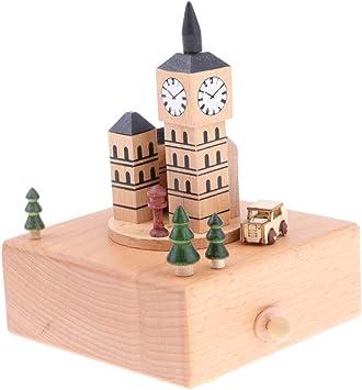 Sharplace Caja Musical de Madera Manivela Modelo de Tiovivo/Balancín/Vehículos Juego de Música para Niños - Big Ben británico: Amazon.es: Juguetes y juegos