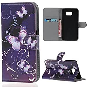 YULIN Purple Flower PU Leather Full Body Case with Card Slot for Samsung Galaxy S6 G920