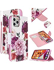 """EnjoyCase Colorful Flip Case for iPhone 12 6.1"""",Peony Flower Painted Pu Leather Bookstyle Magnetic Closure Wrist Strap Wallet Case Cover with Stand Function"""