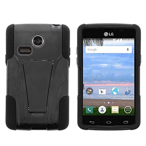 (MINITURTLE Case Compatible w/LG Sunrise Case, LG Lucky Cover [Strike Impact] Dual Layer Hard Rugged Shell Soft Silicone w/Stand Black)