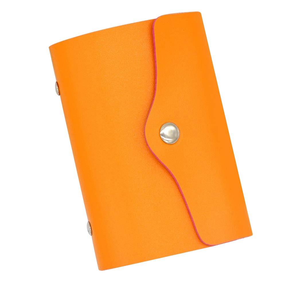 LBgrandspec Women Men 24 Cards Holder Candy Color Wallet Business Travel Buckle Cash Purse for Credit Card Business Card Passport Driver's License Orange