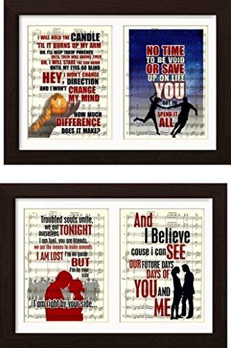 Pearl Jam Inspired 4 Print Set Ready To Frame Mounted /Matted Sheet Music Art Prints (Frame Music Sheet)