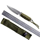 Military Fixed Blade Knife Army Practical Self-defense Knife Leggings Hand Tools Sharp Blade Rope Handle With Sheath