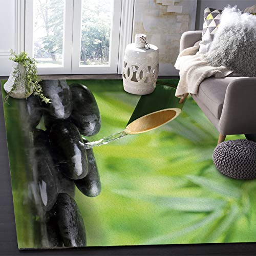 - OUR WINGS Modern Area Rug,Water Yoga Hot Spring Meditation Decoration Bamboo Flower Cobble Stone Indoor Area Rugs Living Room Carpets for Home Decor Bedroom Nursery Rugs