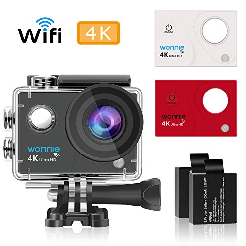 Cheap WONNIE Action Camera 4K Wifi Sport Camera 1080P 16 MP HD Waterproof 170 Degree Wide Angle with 2.4G Wireless Wrist Remote Control and Helmat Holder