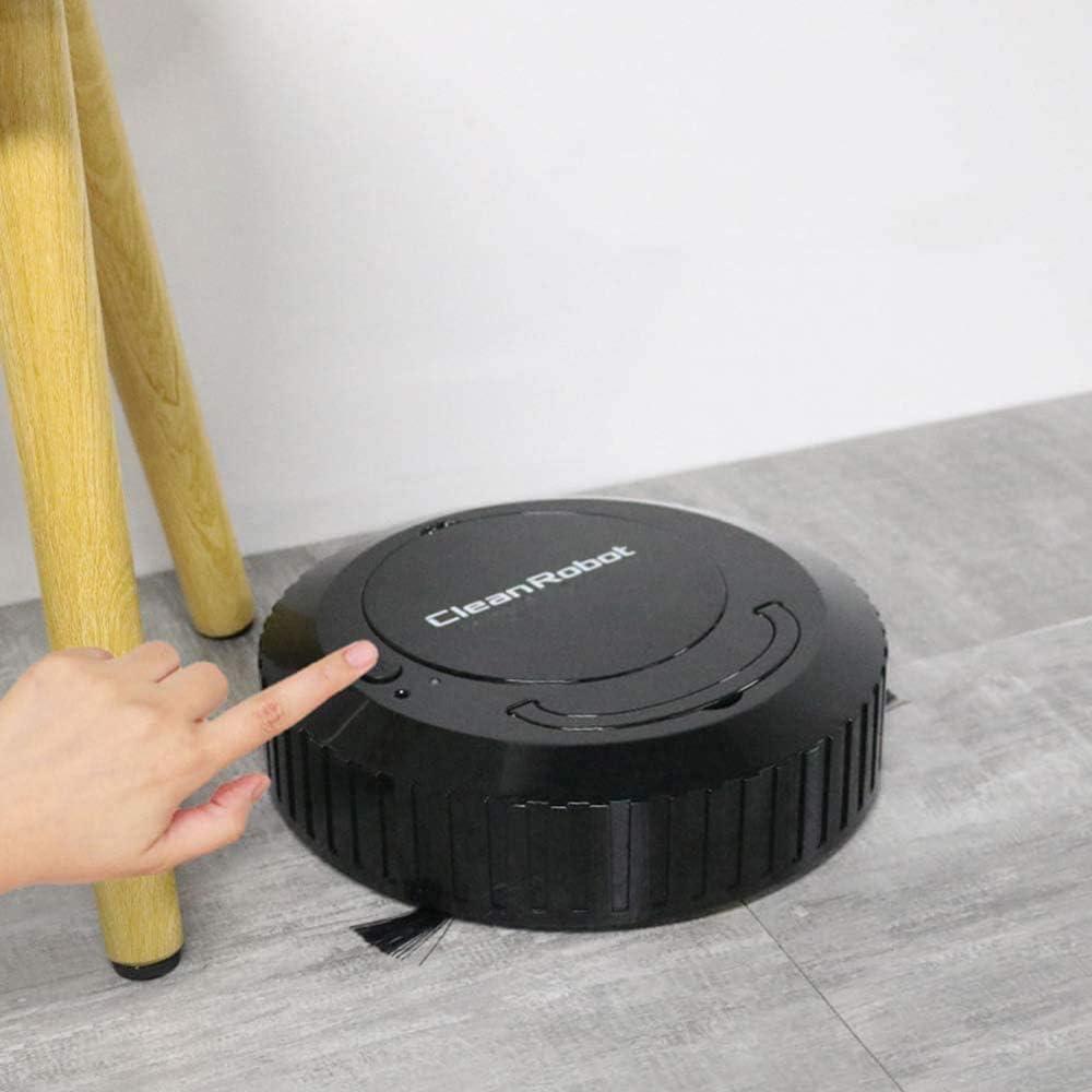 WJJH Aspirateur Robot Balayer et Mopping 2 en 1 Ultra Thin Auto Robotic Vacuumms pour Animaux Cheveux durs Tapis Sol,Noir Black
