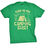 Mens This Is My Camping Shirt Funny Summer Tent Hiking Outdoor Tee For Guys Tan Ink