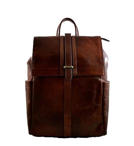 b2f7406549 Sac à dos en cuir italien marron sac à dos en cuir homme femme sac à ...