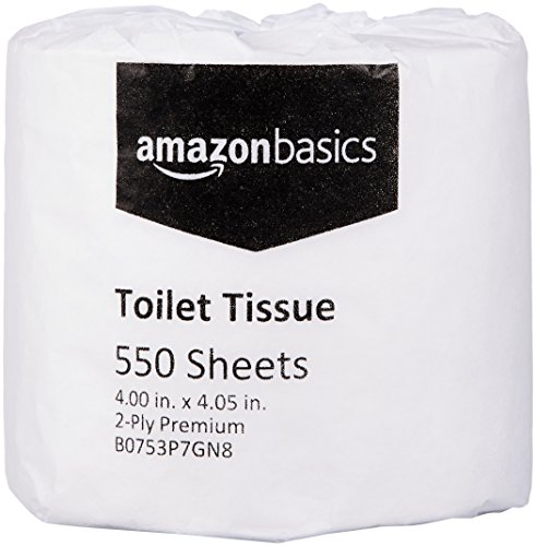 Basic Bathroom Tissue - AmazonBasics Professional Toilet Tissue for Businesses, 2-Ply, 550 Sheets per Roll, 80 Rolls