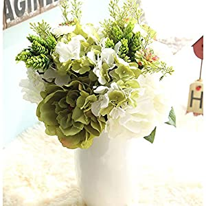 Rumas DY7-15 Artificial Peony Hydrangea Flowers Bouquet Wedding Centerpieces - Real Touch Lifelike Fake Flowers for Garden Lawn Patio Outdoor - Art DIY Home Display 101