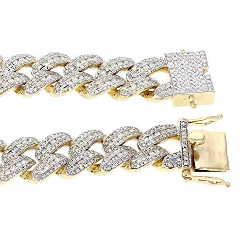 Midwest Jewellery 10K Gold Miami Bracelet 7.00ctw Diamonds Fully Iced Out 13mm Wide 9 Inch Long Mens Gold Bracelet (Man Bracelet Diamond)
