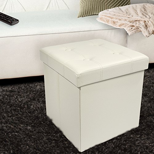 Faux Leather Folding Storage Ottoman Cube Foot Rest Stool