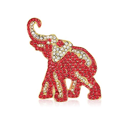 Crimson and Crystal Rhinestone Elephant Brooch (Gold (Delta Elephant)