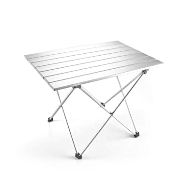 Outry Lightweight Aluminum Folding Table, Portable Camp Table, Outdoor Picnic Camping Backpacking Beach Patio Collapsible Foldable Table (Silver, Medium - Unfolded: 22.2  x 15.9  x 16.1 )