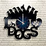 DOGS Vinyl Record Wall Clock - Kids Room wall decor - Gift ideas for kids, girls, boys, teens - Cartoon Unique Art Design