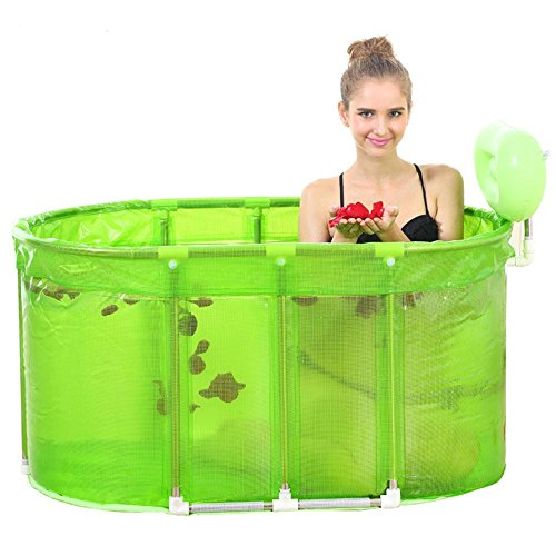 TOYM US Sauna Bath With Two Large Folding Towel Adult Tub Stainless Steel Stent Tub ( Color : Green ) by Folding Bathtub