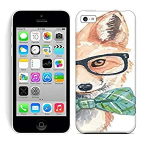 Best Power(Tm) HD Colorful Painted Watercolor Fox Painting, Hipster Glasses, Hard Phone Case For Iphone 5C