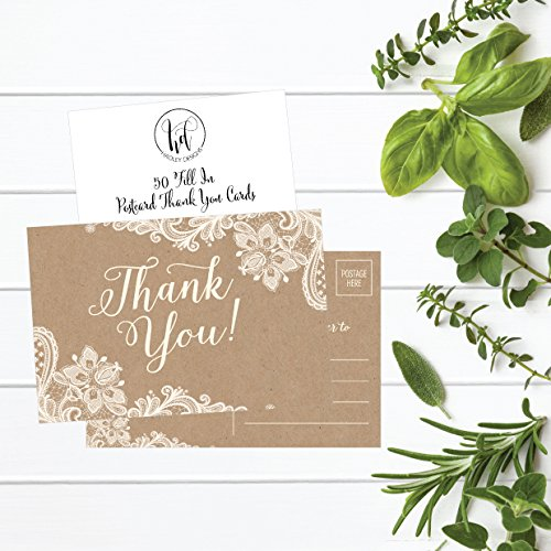 50 4x6 Kraft Thank You Postcards Bulk, Cute Rustic Matte Blank Thank You Note Card Stationery Set For Wedding, Bridesmaid, Bridal Baby Shower, Teachers, Appreciation, Religious, Business, Holidays Photo #4