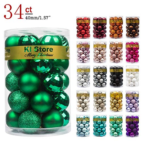 KI Store 34ct Christmas Ball Ornaments Shatterproof Christmas Decorations Tree Balls Small for Holiday Wedding Party Decoration, Tree Ornaments Hooks Included 1.57 (40mm Green)