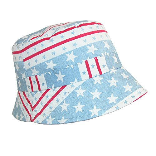 David & Young Cotton American Flag Stars and Stripe Bucket Hat, Light Blue
