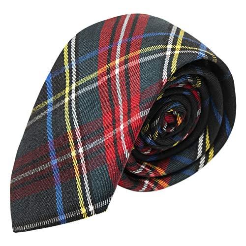 (Traditional Dark Green & Black Tartan Tie, Check, Plaid)