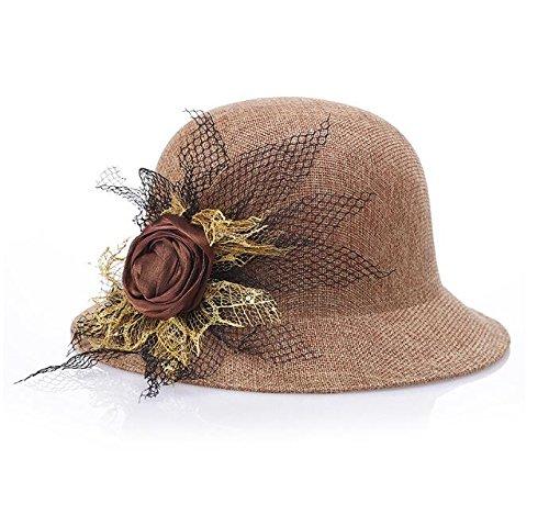 - CS Royarebar Fashion Design Sense Flower Cloche Sun Hat Bowler Hats for Ladies(Khaki)