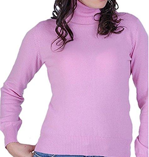 Balldiri 100% Cashmere Kaschmir Damen Pullover Rollkragen mit Bündchen rosa XS