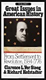 img - for Great Issues in American History, Vol. I: From Settlement to Revolution, 1584-1776 book / textbook / text book