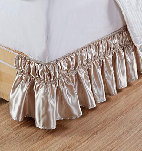 US Bedding Super Soft & Silky Satin 1 PC Elastic Wrap Around Bed Skirt (Beige, Queen, Drop Length 18 ()