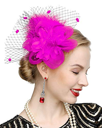 Pink Feather Headpiece (Cizoe Women's Fascinators Hat Hair Clip Feather Wedding Headware Bridal 1920s)
