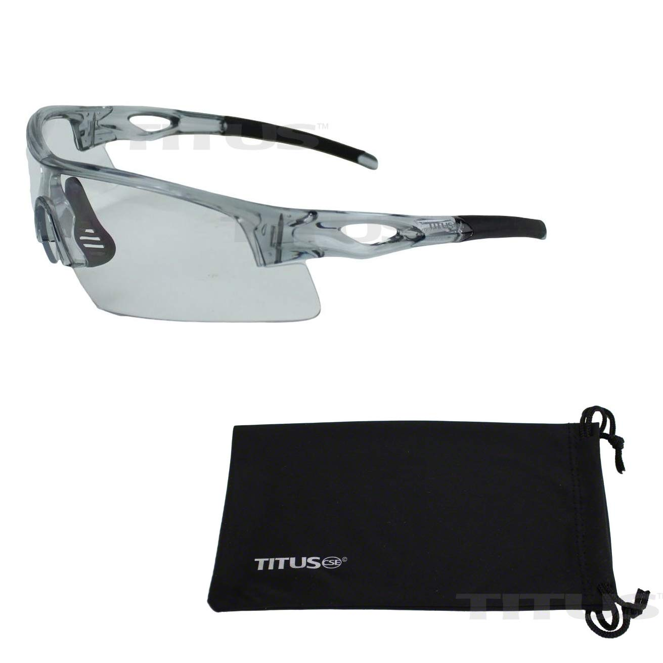 Titus All-Sports Frame Safety Glasses (with Pouch, Grey Frame - Clear Lens) by Titus