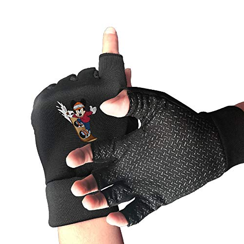 5190cf8509 FOOOKL Mickey Mouse Skateboard Sports Half Finger Non-Slip Gloves for  Outdoor