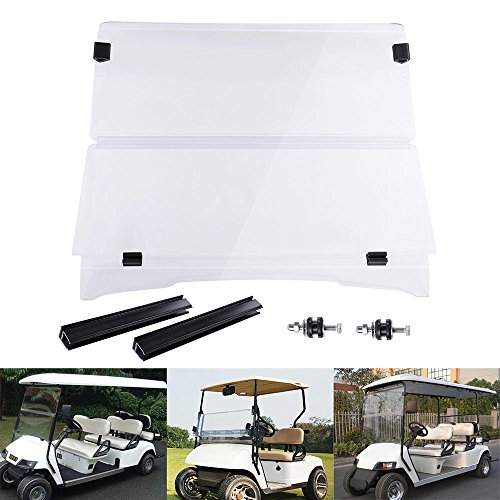 (AW Fold Down Golf Cart Windshield Impact Resistant Acrylic Split Windshield Compatible with EZGO TXT 1995-2013)