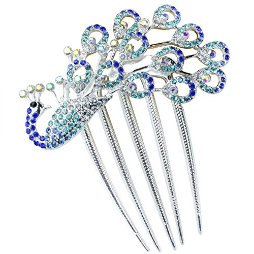 NiceEshopTM Lovely Vintage Crystal Peacock Hair Clips