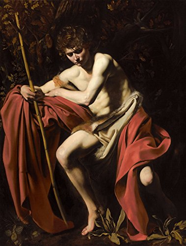 Berkin Arts Michelangelo Merisi da Caravaggio Giclee Canvas Print Paintings Poster Reproduction(Saint John The Baptist in The Wilderness) Large Size29.6 x 39 inches (John The Baptist John In The Wilderness Caravaggio)