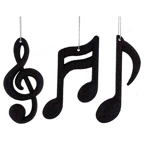 Black Music Notes & Treble Clef Ornaments Set (Music Ornaments)