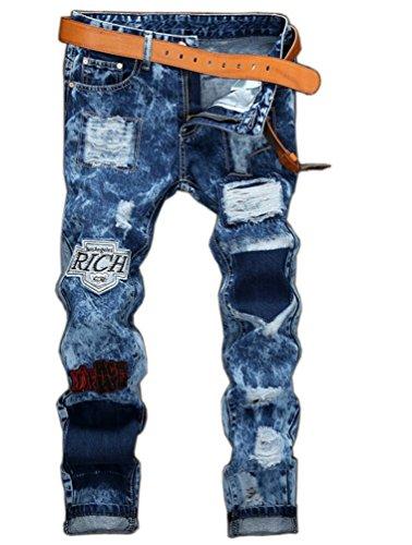Ghope Jeans hommes badge européens et américains de droites pantalons pantalons de neige trous patch Slim