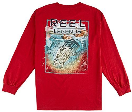 Reel Legends Mens Skeleton Fish Long Sleeve Shirt XX-Large Cardinal red (Skeleton Reel)