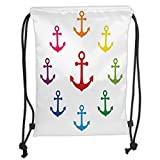 Custom Printed Drawstring Sack Backpacks Bags,Anchor,Colorful Icons in Circular Design Nautical Maritime Theme Naval Sailboat Equipment Decorative,MulticolorSoft Satin,5 Liter Capacity,Adjustable Str