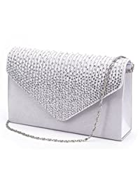 U-Story Women's Rhinestone Satin Frosted Evening Wedding Clutch Bag Handbag Purse (Silver)