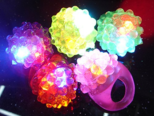 C&H Solutions Novelty 48 ct Flashing LED Bumpy Rings Blinking Soft Jelly Glow By C&H