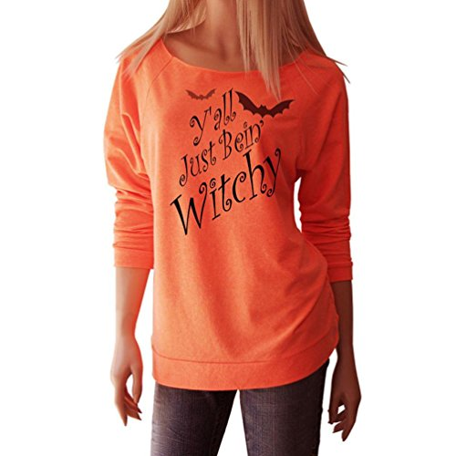 Best Selling,AIMTOPPY Happy Halloween Witches Cat Women Long Sleeve Tops Blouse Shirt T-Shirt (L, Orange2)